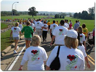 MarkerMan Productions fields a team of 48 Heart Walkers, including leader Jody Victor and his grandchildren, Kayla, 9, and Cody, 6.