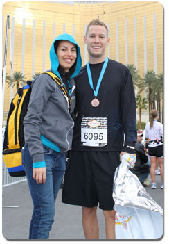 Aura and Cale Andrews double their fun: Achievers 08 and the Las Vegas Marathon, here at the finish line.
