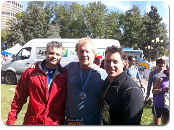 IBOs Steve Zeller, Rob Vickers, and Howie Danzik  share the accomplishment of completing the Denver  Marathon.